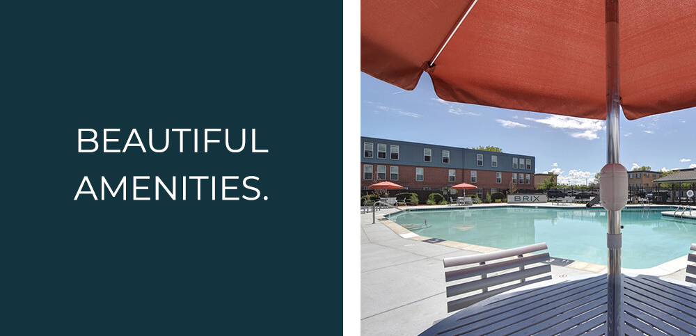 beautiful amenities at Brix - including a great pool